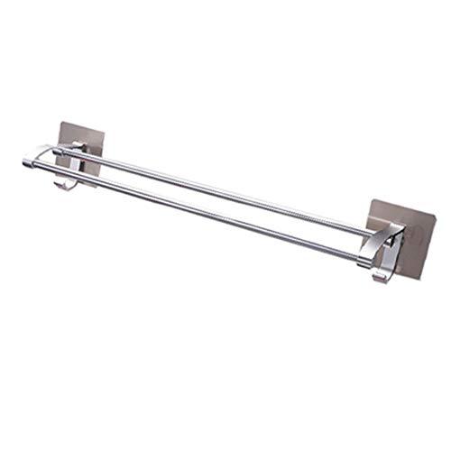 YIRC Toallero Montado En La Pared Ventosa De Vacío Sin Taladrar Toallero Perchero con Pared Ganch Metal para Baño Cocina 60cm Plata