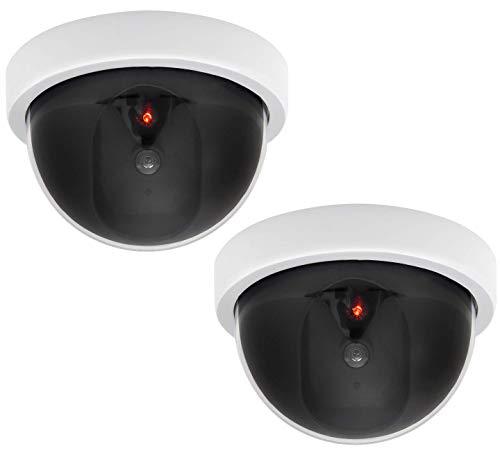 AlfaView Cámara Falsa, Cámara de Vigilancia Falsa Simulada con Bala Solar Cámara Domo CCTV de Seguridad con Luz LED Intermitente para Exteriores Interiores Hogar Negocios (Cúpula-2 Paquete)