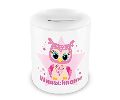 Samunshi® Kinder Spardose mit Namen und Große rosa Eule als Motiv für Kinder - Jungen und Mädchen Sparschwein weiß