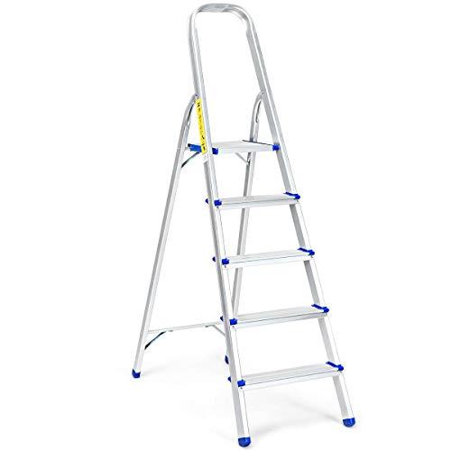 DREAMADE Trittleiter aus Aluminium, Leiter Stehleiter Rutschfest, Stufenleiter klappbar, Ausziehleiter Mehrzweckleiter stabil für innen und draußen (5 Stufen)