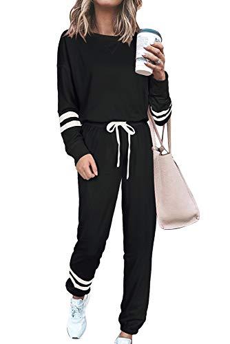 Womens 2 Pieces Loungewear Long Sleeve Crewneck Sweatsuit Sets Fall Black M