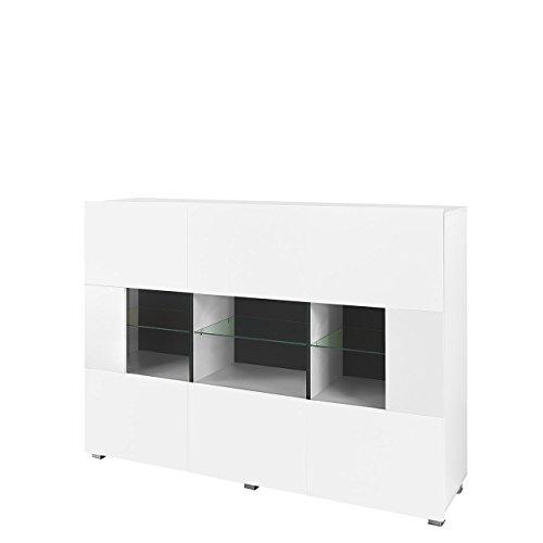 Mirjan24 Kommode Gordia G K3D mit 3 Türen, Anrichte, Sideboard, 150x107x35 cm, Mehrzweckschrank, Highboard, Wohnzimmer (mit weißer LED Beleuchtung, Weiß/Weiß Matt + Weiß Hochglanz)