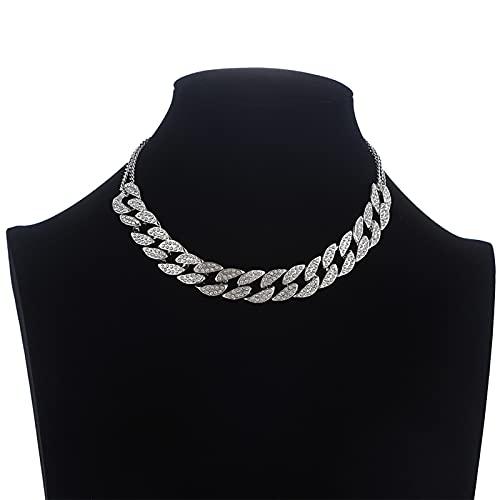 AYJMA Collar de Cadena de eslabones cubanos Helado Gargantilla de Cuello de Mujer Joyas de Lujo Gargantilla de Diamantes de imitación para niñas Joyería de Moda Talla única G