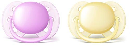 Philips Avent Ultra soft Schnuller 0-6 Monate, SCF211/20, Doppelpack, Mädchen, violett/gelb