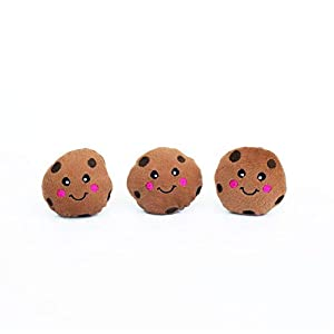 ZippyPaws – Food Miniz, Stuffed Squeaker Dog Toy and Replacement for Interactive Burrows – 3 Pack Cookies