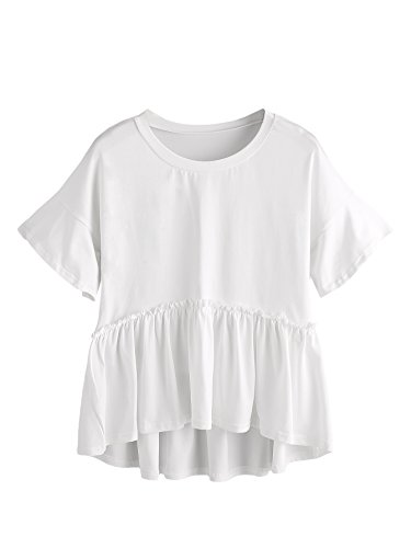 ROMWE Women's Loose Ruffle Hem Short Sleeve High Low Peplum Blouse Top White Medium