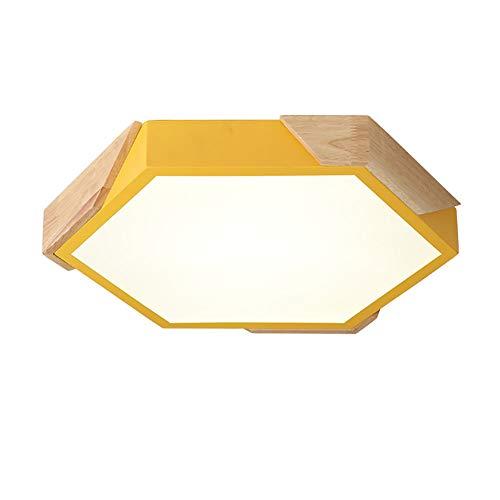 Moderno Minimalista Lampada Da Soffitto,LED Forma Legno 1-leggero Incasso Plafoniera Illuminazione Per Camera Da Letto Giallo 36W 6500K Bianco Fresco -20inch-Luce Bianca Calda 30cm(12inch)