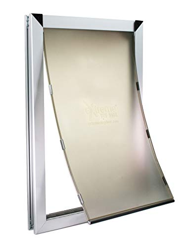 XL Silver Dog Door - Single Flap Door Mounted Energy Efficient Doggie Door and Shatter Resistant Locking Security Plate - Rugged Aluminum Frame Construction