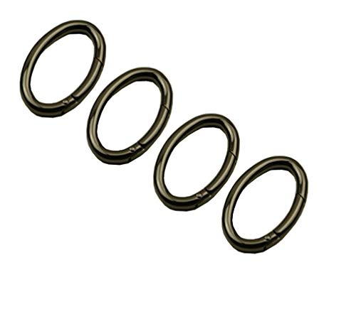 4 PCS 36mm Metal Snap Clip Trigger Spring Gate Oval Open Ring Clips (Black)