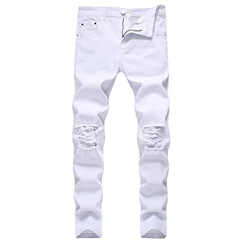 LONGBIDA Men's Ripped Destroyed Stretchy Knee Holes Slim Tapered Leg Jeans Denim Pants(White,38)