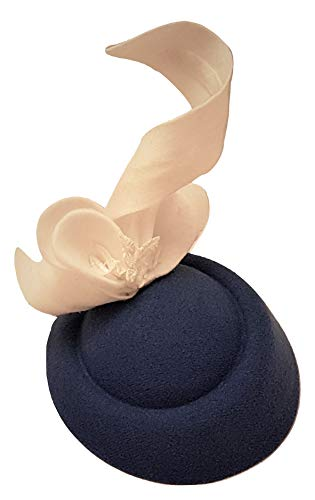 MissElegance Tocado de Fieltro Blanco con Hojas de Fieltro. Tocado de Sombrero de Ascot, Boda, Carrera, Sombrero de cóctel (Azul Marino y Blanco)