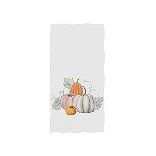 ZZAEO Thanksgiving Autumn White Pumpkins Hand Towel Polyester Single-Sided Printing Fingertip Towel for Sport Gym for Both Adults and Kids-30 x 15 inches (Thanksgiving Autumn White Pumpkins)