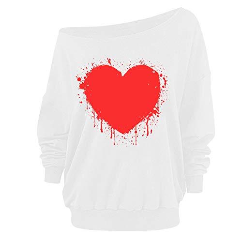 Lenfesh_Sudadera Fuera del Hombro para Mujer Elegante Camisetas de Manga Larga Jerséis Tops Tema de San Valentín Pullover