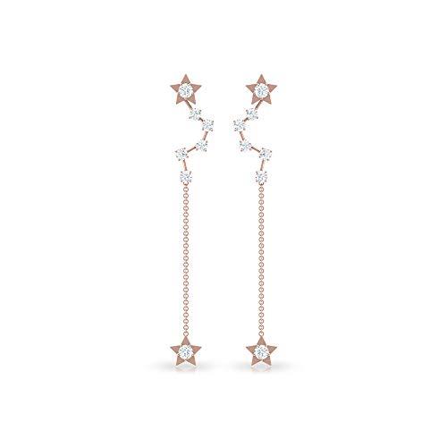 Pendiente largo redondo con certificado IGI de 1,09 CT, diseño de estrella de diamante, único celeste, nupcial, boda, boda, regalo de cadena de cumpleaños, 14K Oro rosa, Par