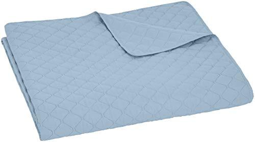 Amazon Basics - Bettüberwurf mit Prägemuster, extra-groß, Graublau, Rauten, 220 x 240 cm