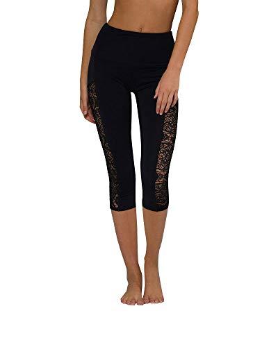 Onzie Hot Yoga Stunner High Rise Capri 2011 Black Lace (Black/Lace, Small/Medium)