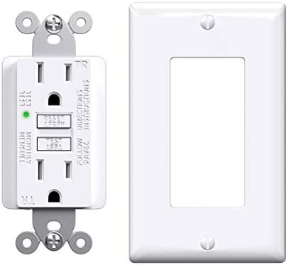 GFCI Outlet 15 Amp Slim Receptacle Outlet with Status Indicator Light Outdoor Indoor Self Test product image