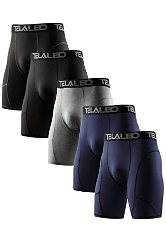 TELALEO 5 Pack Compression Shorts for Men Spandex Sport Shorts Athletic Workout Running Performance Baselayer Underwear Black/Double Blue/Double Gray M