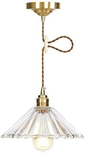 LOKKRG Colgante Colgante en Forma de Paraguas, Lámparas de suspensión de Techo de Vidrio de latón Modernas, Lámpara de Luces Colgantes, Herraje de lámpara de Cobre E27, para Cocina y Comedor