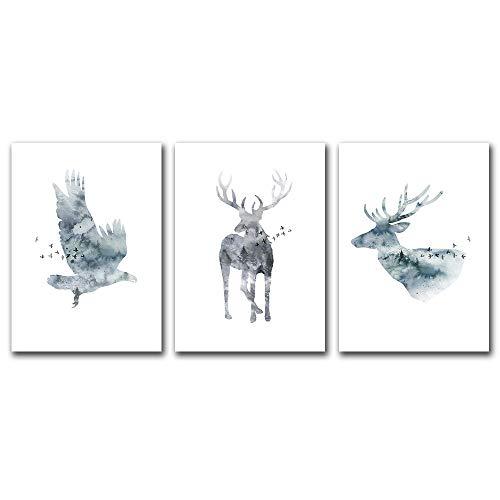 Suuyar Abstracte Elanden Vogel Muur Canvas Schilderij Poster Dier Posters En Prints Moderne Decoratieve Foto Live Schilderijen Decor Home-50x70cmx3pcs geen frame