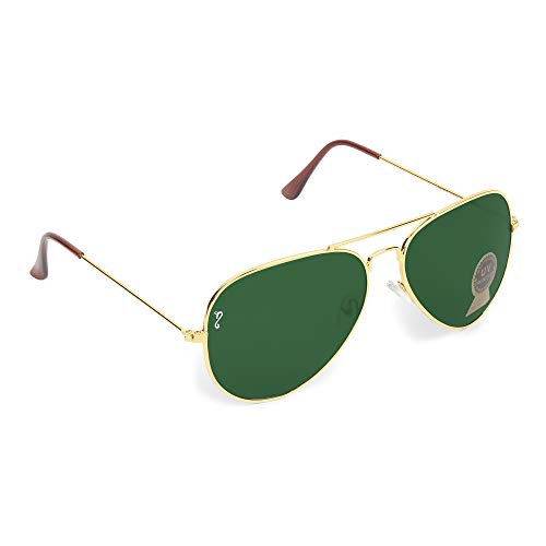 Campeon® Aviator UV 400 Protection Green Glass Golden Frame Sunglasses for Men and Women with Attractive Case