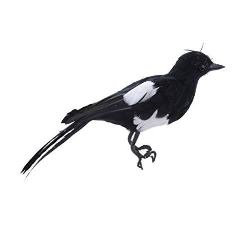 Sharplace Oiseau Simulation Résine Animaux Faux Ornement Figurine Sculptures Jardin Ferme - Noir #1