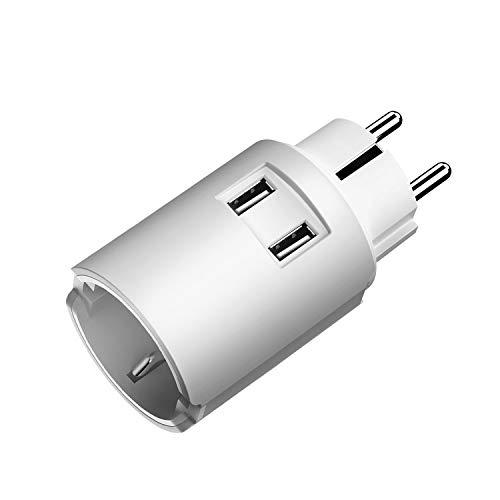 JSVER Steckdose USB Adapter, Steckdosen (4000W) mit 2 USB Ladegerät Anschlüße Steckdosenadapter USB Wand Steckdose Schuko Stromadapter Stecker Mehrfachstecker mit USB für Reisen oder Geschäftsreisen
