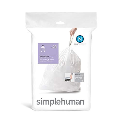 Simplehuman CW 0174 verpakt p.24 Code N Afvalzak, 45L-50L, Wit, 20 Stuk