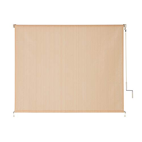 VICLLAX Outdoor Roller Shade, Patio Cordless  Blinds Roll Up Shade (8' W X 6' L), Wheat