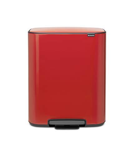 Brabantia Bo Cubo de Basura con Pedal, Acero, Rojo pasión, 60L
