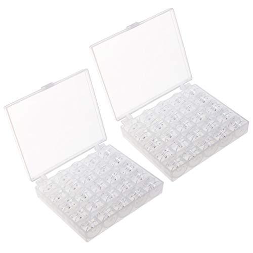 Exceart 50 Stks / 2 Sets Naaimachine Klossen Doorzichtige Plastic Naaien Klossen Met Opbergdoos Lege Draad Klossen Voor Kruissteek Draad Craft