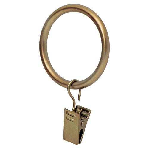 Ivilon Drapery Curtain Clip Rings - Clips Ring for Curtain Panels 1.7', Set of 14 - Warm Gold