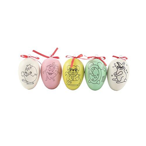 SOIMISS 40 Stück farbige bemalte Eier künstliche Eier gefälschte Osterei hängen Kinder DIY Bastelbedarf Rollenspiele Graffiti Spielzeug mit Seil- Muster gedruckt Eier mit Schleife