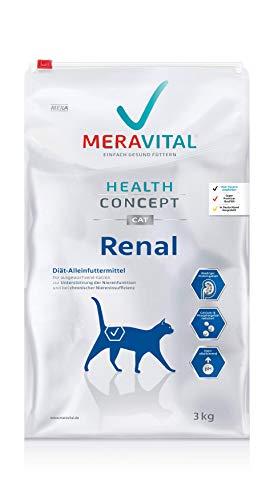 MERAVITAL Renal Katzenfutter trocken 3 kg für Katzen bei Nierenerkrankungen - Niedriger Proteingehalt zur Entlastung der Nierenfunktion