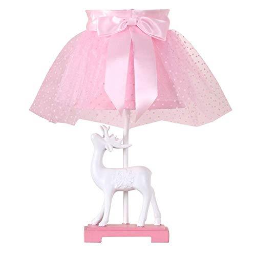 ZGYQGOO Niedliche weiße Rehkitz Tischlampe mit rosa Spitze Stoffschirm - Schlafzimmer Nachttischlampe für Mädchen Prinzessin Kreative Raumdekoration