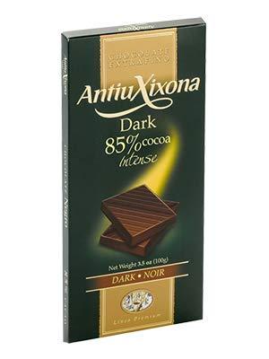 Pack 4 Tabletas Chocolate de 120g marca Antiu Xixona. Chocolate cacao 85%, chocolate cacao 72%, chocolate negro con almendras, chocolate negro con arándanos.