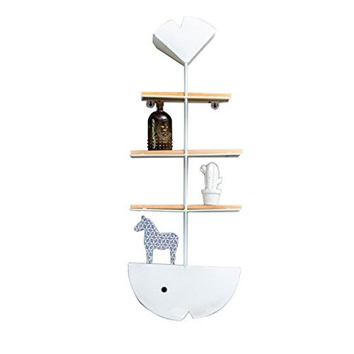 XUEYAN Minimalista nórdico Creativo Hueso de Pescado Estante Tienda de té Cocina Dormitorio Decoración de la Pared del hogar (Color : Blanco)