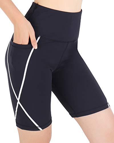 3W GRT Kurze Sporthose Damen Shorts Leggings Hohe Taille Damen Leggings Kurz Damen mit Taschen Dehnbar Yogahosen für Damen Fitness Yoga Sommer Radlerhose Gym Frauensportshorts (Schwarz, L)