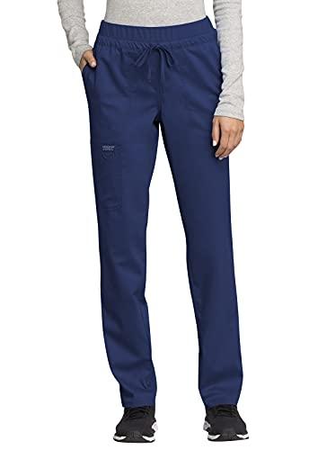 CHEROKEE Workwear WW Revolution Mid Rise Tapered Leg Drawstring Pant, WW105, M, Navy