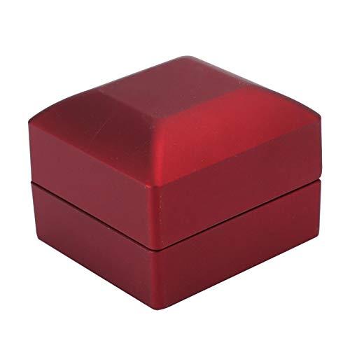 DAUERHAFT Joyero Caja de Anillo Cuadrada Exquisitas Luces LED Material de embrión de Goma para Usar en propuesta de Matrimonio Color Rojo Negro