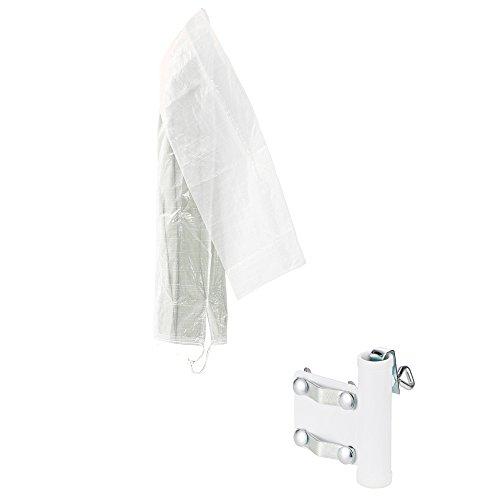 COM-FOUR® 2-delat set bestående av en parasollhållare för balkongräcken och ett skyddshölje för parasoller - för paraplystolpar 25 mm Ø, platstjocklekar upp till 35 mm (02 delar - hållare + skydd V2)