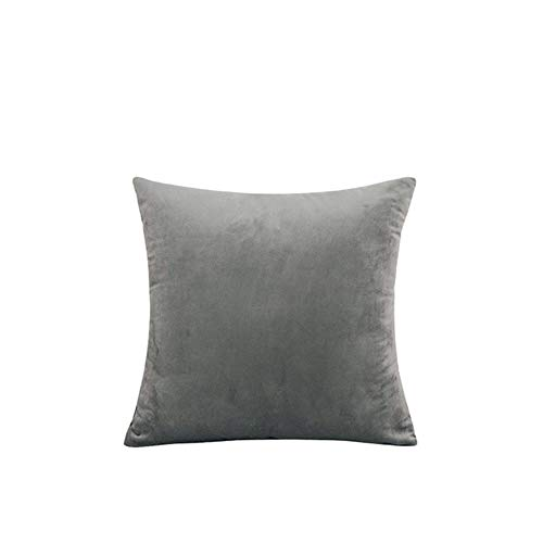 Velvet Throw Pillow Cover Soft Decorative Square Cushion Case for Sofa Bedroom Car Home 55x55/60x60cm Cozy Pillowcase-Gray,50x50cm
