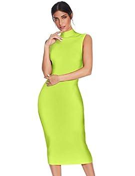 meilun Women s Knee Length Bandage Dress Bodycon Club Party Dress  L Neon Green