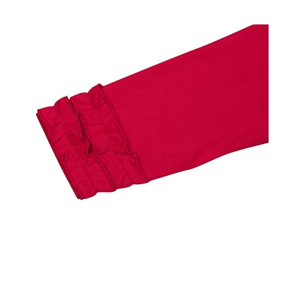 Girls Icing Lotus Ruffle Cotton T-Shirt Long-Sleeve Cuff Undershirt School Tee Christmas Raglan Casual Blouse 6