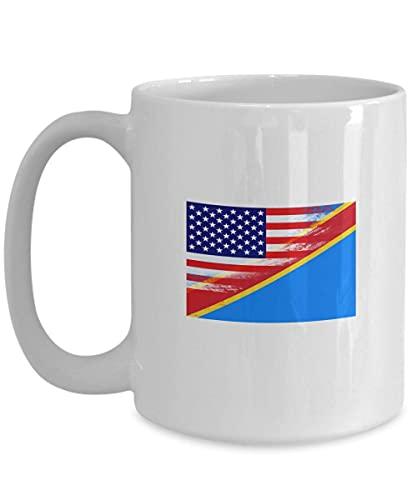 USA Demokratische Republik Kongo Flagge Weiß Kaffeetasse Teetasse