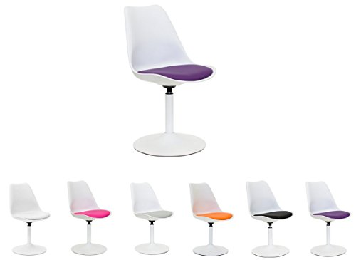 Tenzo 3303-440 TEQUILA - Designer Esszimmerstuhl Viva, Kunststoffschale mit Sitzkissen in Lederoptik, Untergestell Metall, pulverbeschichtet, 83 x 49 x 53 cm, weiß / violett