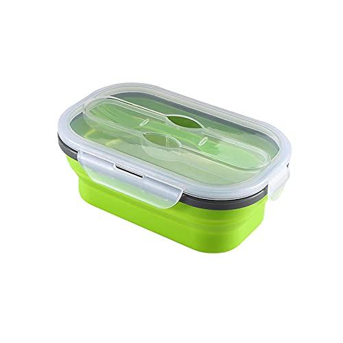 WSYGHP Fiambrera plegable de silicona para almacenamiento de alimentos portátil con cuchara dos en uno y tenedor para viajes y acampada (color: verde, tamaño: una sola capa, 800 ml)