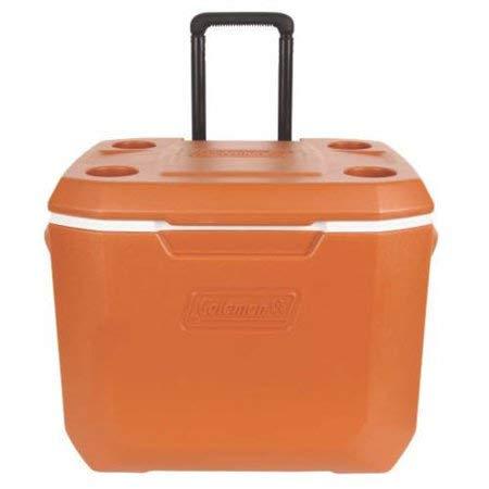 Coleman 50-Quart Xtreme 5-Day Heavy-Duty Cooler with Wheels, Dark Orange