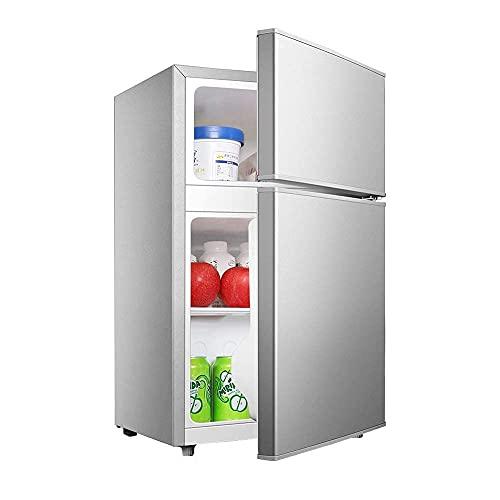H.Slay Congelador SHKUU, refrigerador Independiente de Doble Puerta 58L 76L con estantes Control de Temperatura Compresor de Baja energía para el hogar, Cocina, Oficina, Dormitorio