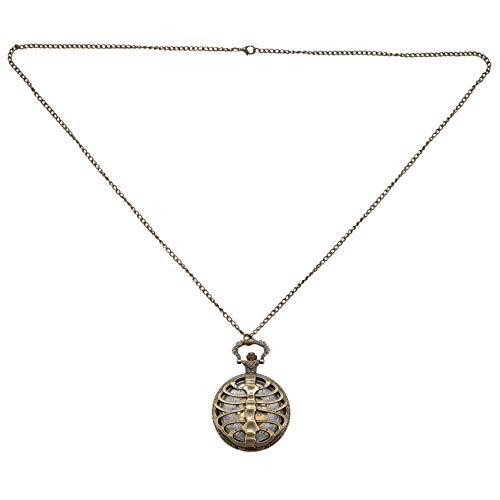 Camisin Reloj de Bolsillo de Cuarzo Hueco Espina Cráneo Retro Cadena Reloj Pendiente Collar Regalo de Mujer Hombre